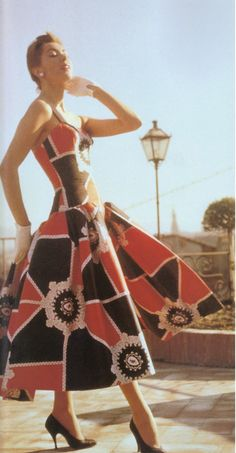 1950s - Pucci dress red black graphic print design vintage fashion style print ad model full skirt sundress