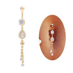 Vcmart piercing nombril anallergique pendentif goutte d'eau diamant artificiel zircon cubique blanc en acier chirurgical 316L bijou de corps danse du ventre 14G-1pc