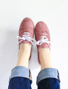 How to make your own glitter sneakers! We've always wanted to try this .| The Crafted Life