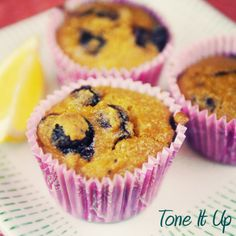 Tone It Up! BIKINI SERIES™ ♡ Blueberry Zest Muffins! Love love this recipe! Added a tbsp of almond milk, squeeze of honey, and a packet of stevia to improve texture and sweeten a little!