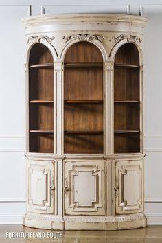 Habersham Plantation Furniture Biltmore Distress White Demilune Cabinet 64 2351