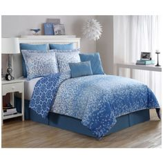 Product Image: Luxury Home Ryder Comforter Set, Blue - Queen - 8 Piece Set