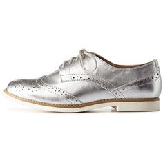 c6abeb06bc8 Charlotte Russe Silver Lace-Up Metallic Brogue Oxfords by Charlotte... ( 29