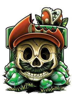 A Temporary Tattoo Series for Hardcore Gamers This set of skull parody Temporary Tattoos features a great mix of all your favorite iconic video game characters. No 1 Up's or extra lives for these char
