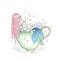 Bubble Bath Mermaid Art - www.Seatailshop.com