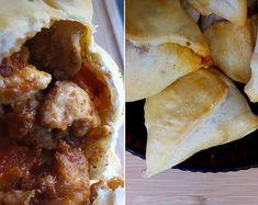 Baked sambusa stuffed with chicken - Somali food. [: