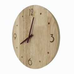 12u2033 Circle Uncommon Handmade Modern Solid Wood OAK Wall Clock With Oak  Hands Non Ticking Sound