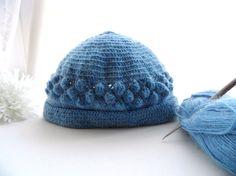 Crochet Winter Hat for Women - Mohair Hat - Navy Hat - Teen Adult Hat - Crochet Beanie