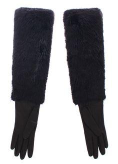 Black Beaver Fur Lambskin Leather Elbow Gloves