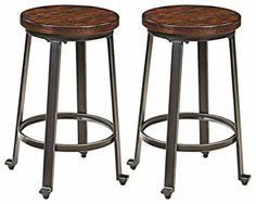 Ashley Furniture Signature Design Challiman Bar Stool Counter Height Set of 2 Rustic Brown >>> To view further for this item, visit the image link. (This is an affiliate link and I receive a commission for the sales) Vintage Bar Stools, Furniture Near Me, Stool, Industrial Decor, Leather Dining Room Chairs, Ashley Furniture, Vintage Industrial Furniture, Metal Furniture, Backless Bar Stools