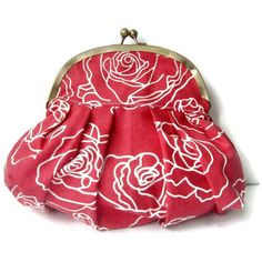 Red with White Roses Pleated Vintage Chain