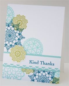 Maureen's colorful CAS card features Delicate Doilies used with this In Color combo - Lucky Limeade, Pool Party & Island Indigo.