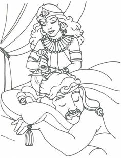Delilah Cutting Samson's Hair coloring page from Samson category. Select from 21344 printable crafts of cartoons, nature, animals, Bible and many more. Sunday School Coloring Pages, Preschool Coloring Pages, Preschool Bible, Bible Coloring Pages, Cartoon Coloring Pages, Bible Activities, Coloring Sheets, Bible Stories For Kids, Bible Story Crafts