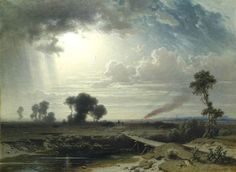 Ludwig Meixner Extensive landscape at evening light with a conflagration