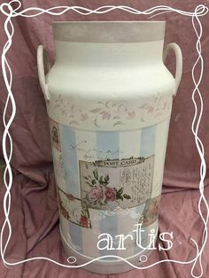 Lechera Painted Milk Cans, Decoration Shabby, Pots, Mug Rugs, Hand Painted, Canning, Bottle, Polymers, Mixed Media