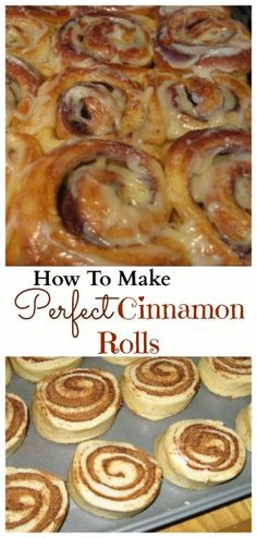 These are the best cinnamon rolls I've ever made! Perfect texture, though doubled the icing cause, why wouldn't you? -Angie How To Make Perfect Cinnamon Rolls - Better than Cinnabon! Make ahead and freeze before baking Just Desserts, Delicious Desserts, Yummy Food, Breakfast Recipes, Dessert Recipes, Cinnabon, Cupcakes, Strudel, Rolls Recipe