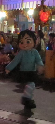 Vanellope from Wreck-It Ralph  in the Boo to You parade at Mickey's Not So Scary Halloween Party in the Magic Kingdom at Disney World.  For more party tips & informaton, see: http://www.buildabettermousetrip.com/mickeys-not-so-scary-halloween-party-tips