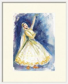 Unique Original Handmade Indian Dancer Art, Colorful Indian Golden Yellow Dancer Wall Decor, Watercolor, dancer Art,Red beautiful dancer by ArtbyAashaa on Etsy