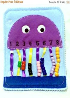 Quiet book learning numbers – busy book – toddler learning toy – educational gift – church quiet book – preschool toy – SALE Quiet activity book addon page Jellyfish bead counting page educational game busy bags quiet book Diy Busy Books, Diy Quiet Books, Baby Quiet Book, Felt Quiet Books, Toddler Learning, Toddler Preschool, Diy Preschool Toys, Toddler Teacher, Preschool Classroom