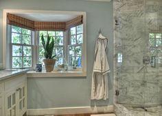 Bathroom Design by Kathleen DiPaolo Designs Bay Window Decor, Valance Curtains, Dining Room, Windows, Window Ideas, Interior Design, Bathroom, House, Outdoors