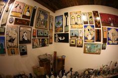 Corner shot of Walt Hall's art at Cactus Gallery.