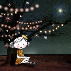 Annelinde Tempelman / Meisje onder een met lichtjes versierde boom