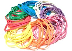 Assorted Colored Rubber Bands - Pack of 100 - Red, Orange, Yellow, Green, Blue, Purple, Pink, White, Office Supplies and Crafts