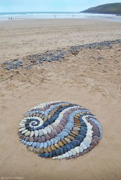 Land artist Jon Foreman creates visually stimulating stone arrangements using rocks, leaves, and other interesting pieces found on the beach. Pebble Mosaic, Pebble Art, Mosaic Art, Mosaics, Pebble Stone, Stone Mosaic, Art Et Nature, Nature Crafts, Stone Crafts