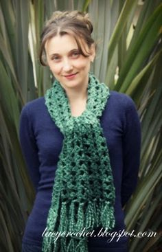 Lacy Crochet: Stash Buster: Emerald Green Scarf (my free pattern)