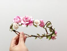 Rose flower crown headband soft pink and white/ by AbbeysBlooms