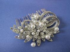 Rhinestone and pearl hair comb wedding hair comb by bridal101
