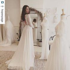 Long Sleeve Backless Boho Wedding Dress