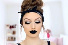 Best Ideas For Makeup Tutorials Picture Description Silver smokey cat eyes + Black matte lips // Bold makeup tutorial- like the eyeshadow for sweet sixteen (not the black lips for the party though) - #Makeup https://glamfashion.net/beauty/make-up/best-ideas-for-makeup-tutorials-silver-smokey-cat-eyes-black-matte-lips-bold-makeup-tutorial-like-the-eyes/ #makeupideastutorial