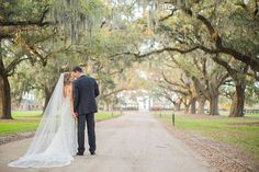 The Notebook Inspired Boone Hall Plantation Wedding, Bride and Groom Under Oak Trees
