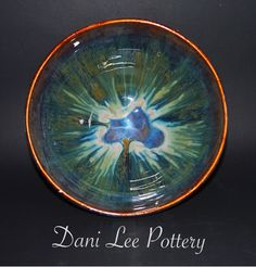 Amaco blue rutile base seaweed 1/3 of the top and rim then ancient jasper around the rim