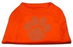 Mirage cat Products Clear Rhinestone Paw Shirt, Small, Orange >>> Awesome cat product. Click the image : Cat Apparel