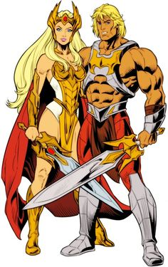The modern DC Comics versions of He-Man and She-Ra. This picture is a tribute honoring the He-Man & She-Ra Christmas Special. DC Comics Eternity War He-Man and She-Ra 1980 Cartoons, Old School Cartoons, Comic Book Characters, Comic Books Art, Comic Art, She Ra Characters, Comic Manga, Manga Anime, Anime Art