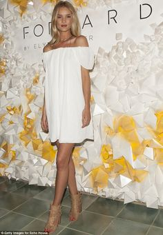 All white on the night! Rosie Huntington-Whiteley hosted the Soho Desert House with Bacardi and Spotify event at Coachella on Friday