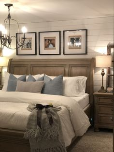 Farmhouse master bedroommodern farmhouse bedroom design, neutral bedroom decor, seating area in master bedroom, upholstred headboard and rustic nightstand decor, shiplap on bedroom walls . Farmhouse Master Bedroom, Home, Bedroom Makeover, Home Bedroom, Bedroom Inspirations, Modern Bedroom, Small Bedroom, Remodel Bedroom, Master Bedrooms Decor