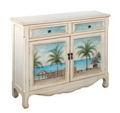Coast to Coast Key Largo Seaview Poplar Accent Chest at Lowe's. This key largo sea view cupboard will take you away to a tropical vacation. The creamy wash sets off the hand painted scenes on the two doors while the Beach Furniture, Hand Painted Furniture, Accent Furniture, Rustic Furniture, Bedroom Furniture, Furniture Ideas, Recycled Furniture, Coastal Furniture, Outdoor Furniture