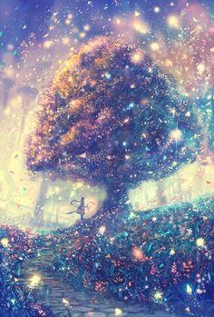 Trois dessins et papier peint The Effective Pictures We Offer You About anime dessin tuto A qua Anime Kunst, Anime Scenery, Galaxy Wallpaper, Forest Wallpaper, Tree Wallpaper, Cute Wallpapers, Amazing Art, Cool Art, Nice Art