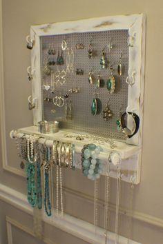 Beautiful Shabby Chic Wall Mounted Jewelry by TheKnottyShelf