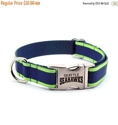 MARCH MADNESS 15% OFF Seattle Seahawks Dog Collar by LaserPets