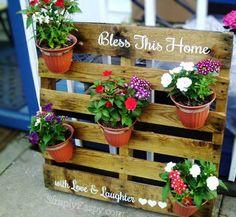 Bless This Home Pallet Flower Pot Holder