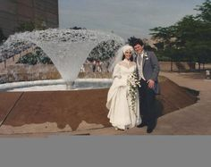 Throwback wedding! Dave Harris ('79 '86) with his beautiful bride Shelly ('81) in front of the Clara Knight Fountain at EJ Thomas Hall
