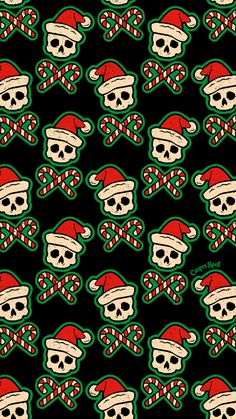 """""""Santa Skulls"""" pattern for you. Feel free to save as your phone lock screen. *For Personal Use Only. ✨🎅💀✨ Artist with a whimsical brand of illustrated """"Cute-N-Spooky"""" designs. Skull Wallpaper, Cute Wallpaper Backgrounds, Wallpaper Iphone Cute, Cute Wallpapers, Dark Wallpaper, Halloween Backgrounds, Halloween Wallpaper, Christmas Wallpaper, Creepy"""
