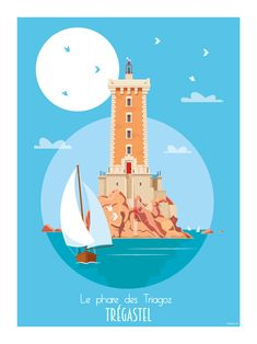 Illustrations Office de Tourisme Côte de granit rose Rouen, Le Havre, Poster Vintage, Illustrations, Deco, Movie Posters, Travel, Image, Illustrator