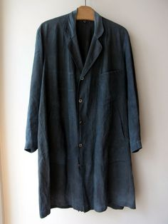 1880s-1900s French Indigo Linen Coat