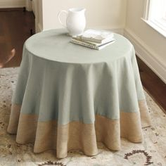 Mixed fabric table round using burlap. Photo is for inspiration only - no tutorial.