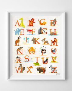 Animal Alphabet Poster, Alphabet Print, ABC Wall Art, ABC Print, Animal Print, Kids Room Decor, Baby Room Poster, Easter Decorations